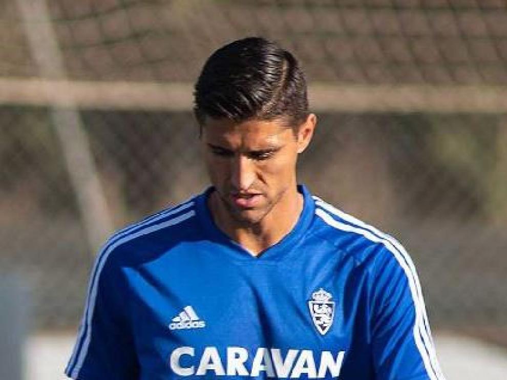 Simone Grippo, en una de sus imágenes últimas en la Ciudad Deportiva como futbolista del Real Zaragoza.