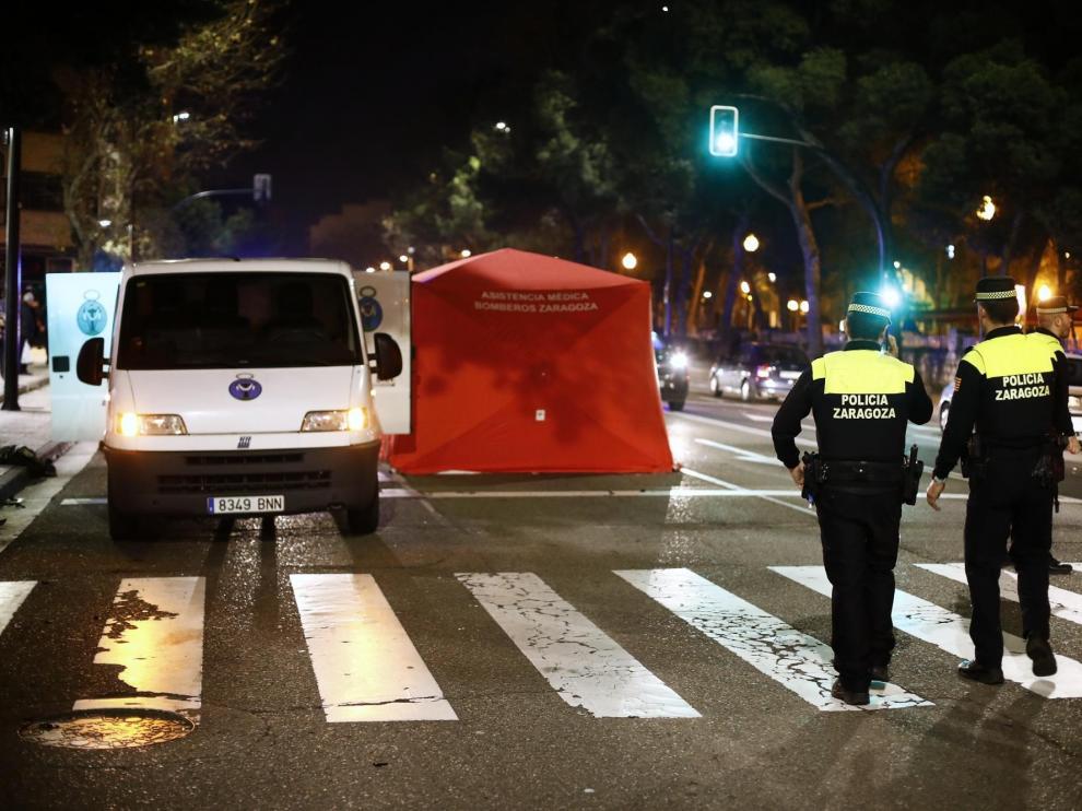 Accidente mortal de un motociclista en el paseo de Cuéllar de Zaragoza.