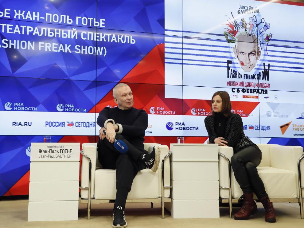 Jean Paul Gaultier, durante la presentación de su espectáculo en Moscú, este miércoles.