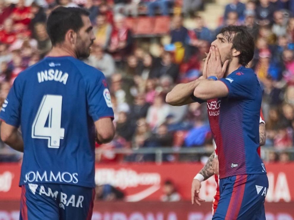Imagen del choque de esta tarde entre el Girona FC y la SD Huesca