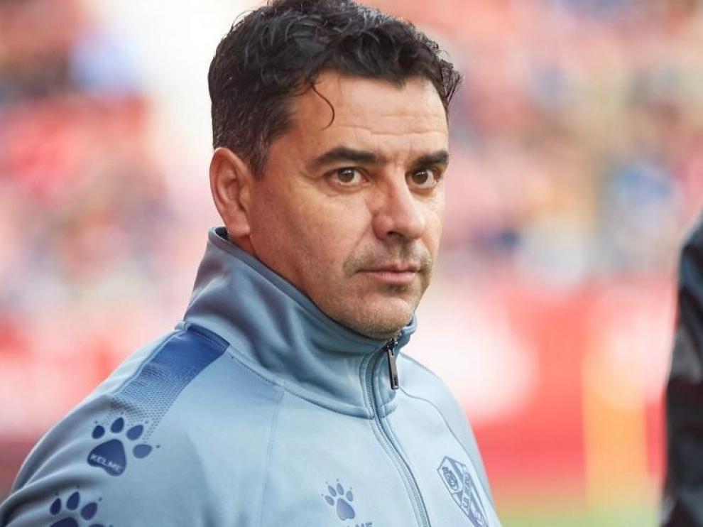 Míchel Sánchez, durante la cita de este sábado en Montilivi.
