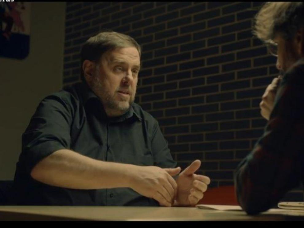 Oriol Junqueras durante su entrevista con Jordi Évole.