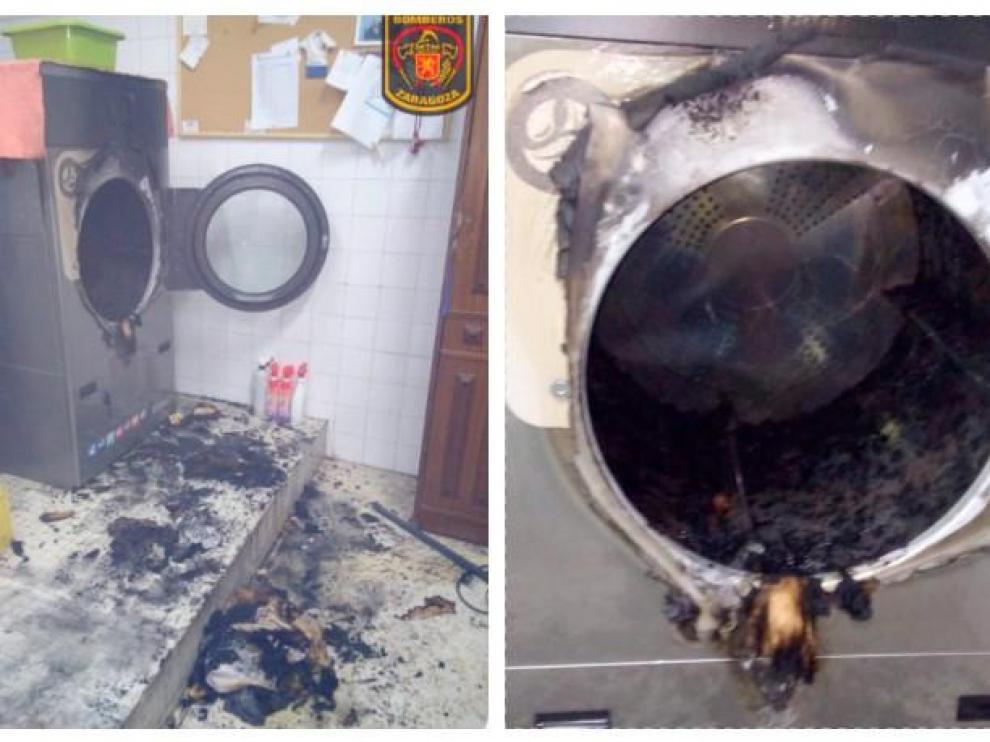 Así ha quedado la secadora en la que se ha originado el incendio
