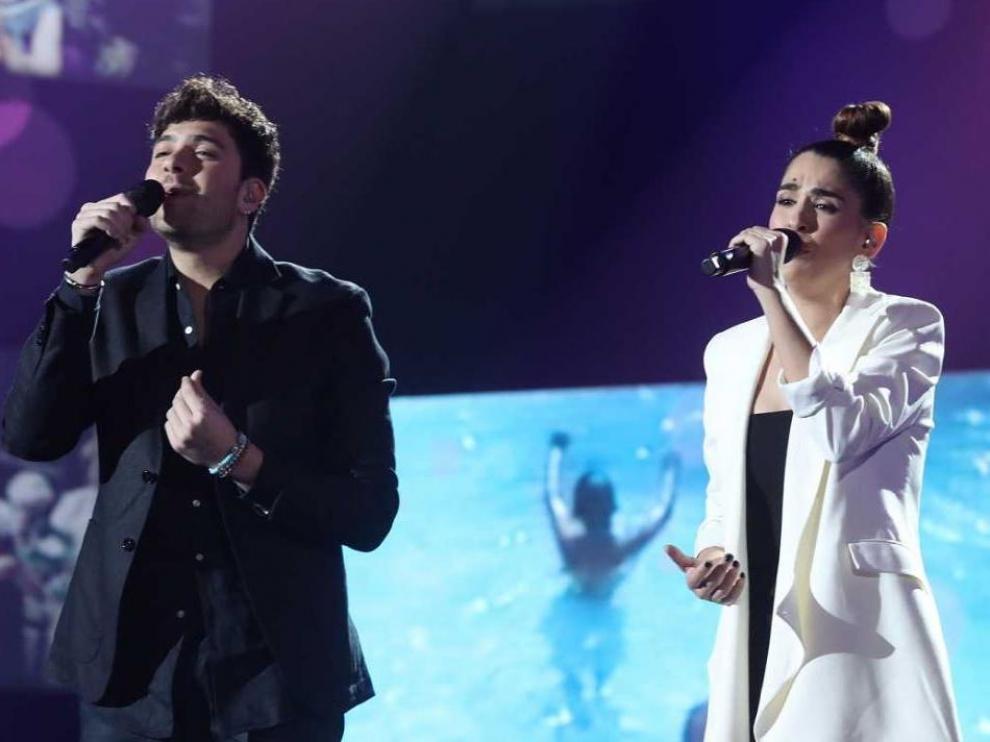 Javy y Anaju en la actuación que les supuso la nominación.
