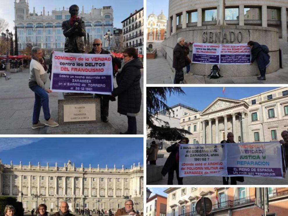 Manifestaciones en las que ha participado Juan Luis Serrano, el mutilado del barrio de Torrero, para reclamar su condición de víctima de terrorismo, en el Congreso de los Diputados y el Senado.