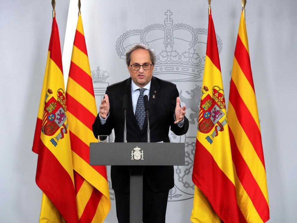 Quim Torra durante la rueda de prensa tras la reunión de la mesa de diálogo bilateral entre el Gobierno y la Generalitat .