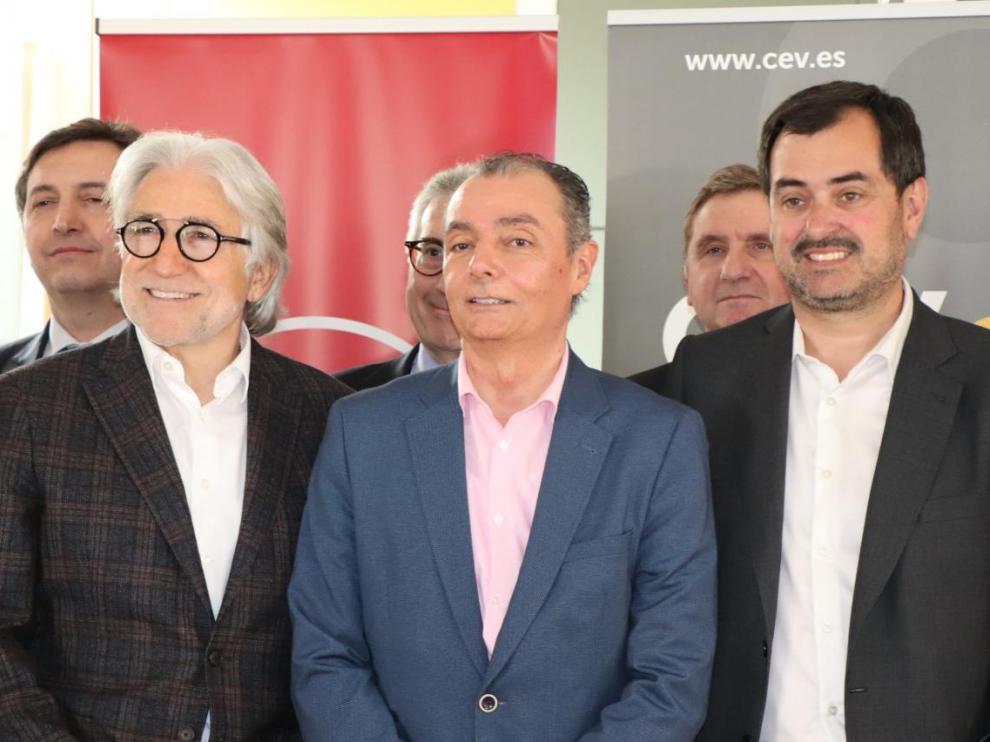 Josep Sánchez Libre, Salvador Navarro y Ricardo Mur, durante la reunión de hoy en Benicarló