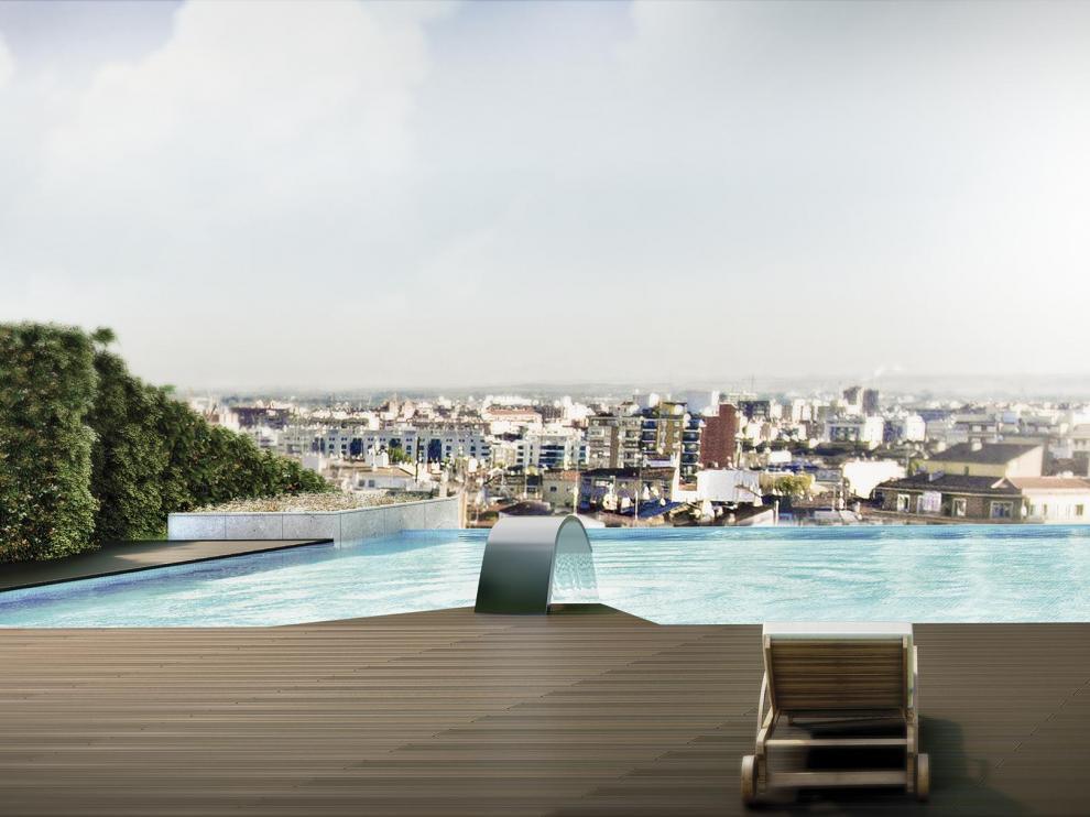 Infografía que recrea la piscina 'infinity' que se ubicará en la azotea de MS-Square.