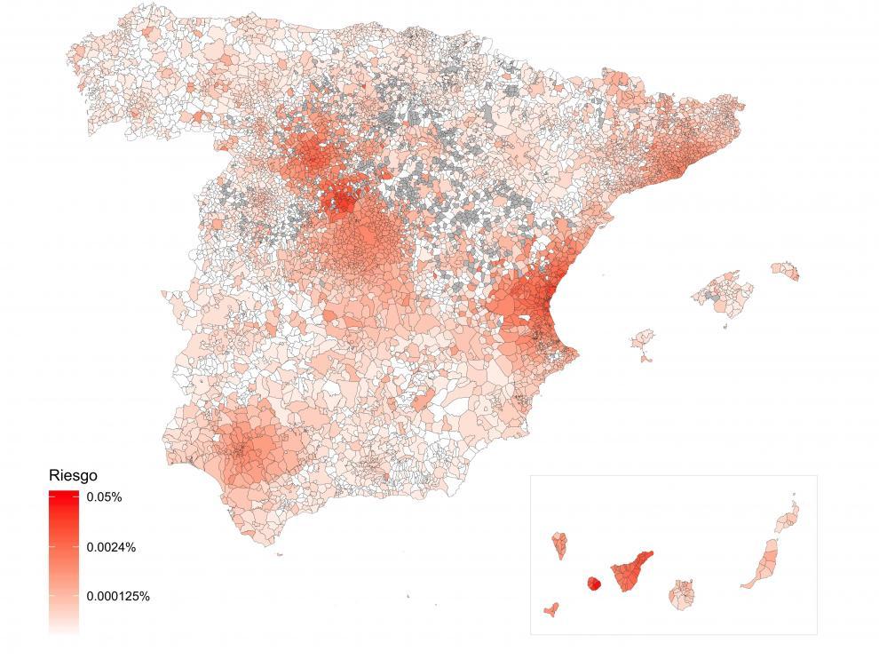 Mapa de riesgo de propagación de COVID-19en España.