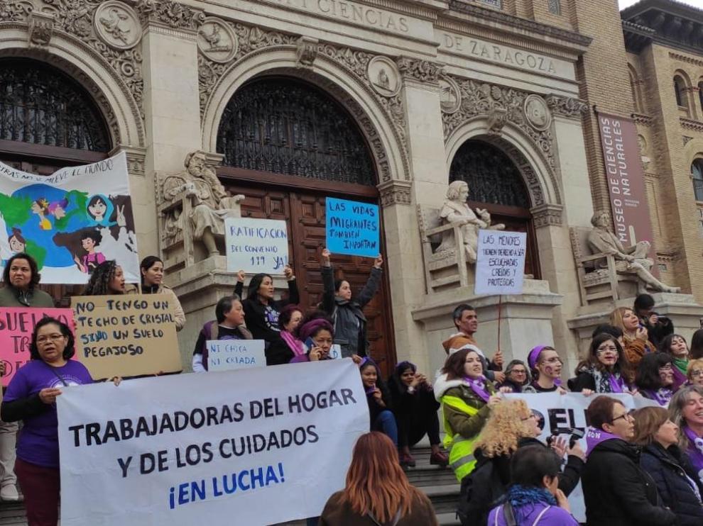 Manifestación de las empleadas del hogar el pasado 8 de marzo en Zaragoza.