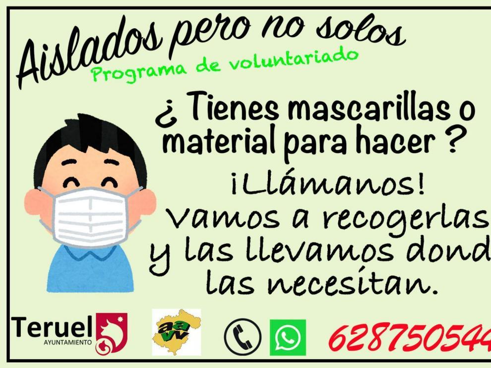 Cartel del servicio de recogida de mascarillas del Ayuntamiento de Teruel.