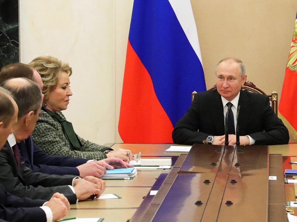 El presidente ruso, Vladimir Putin, en una reunión sobre seguridad el viernes en el Kremlin.