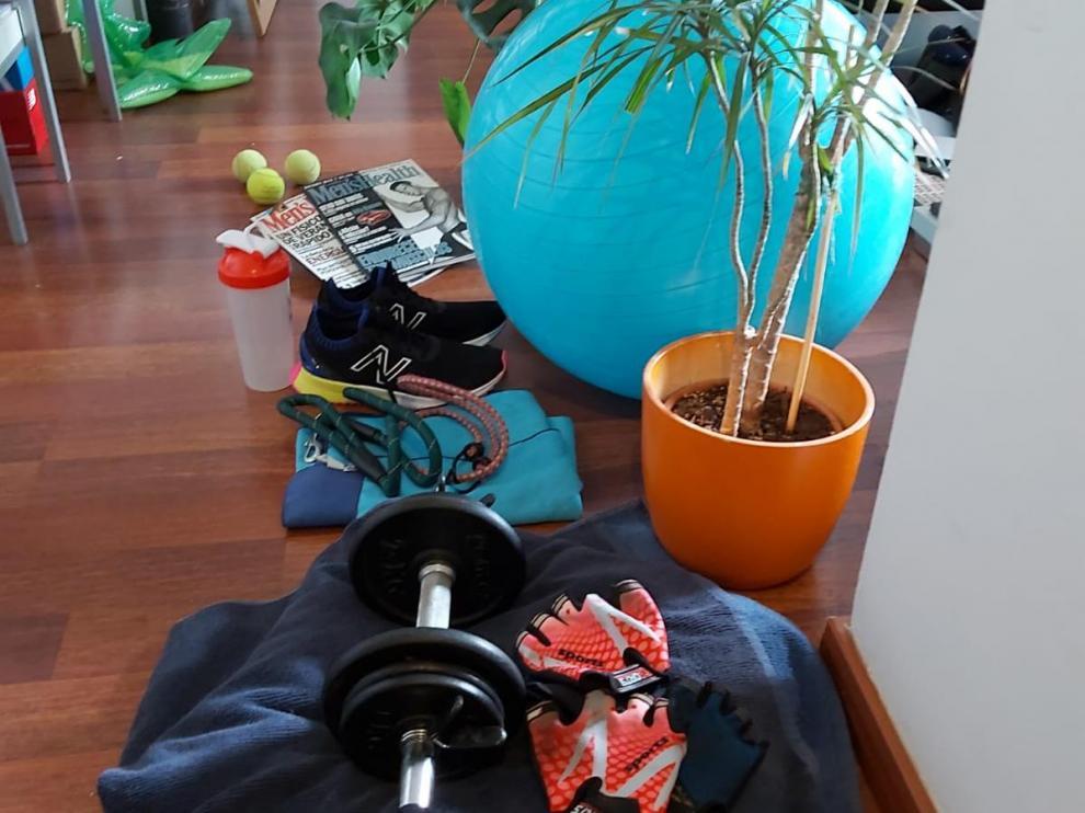 Bodegón de material básico y plantas.