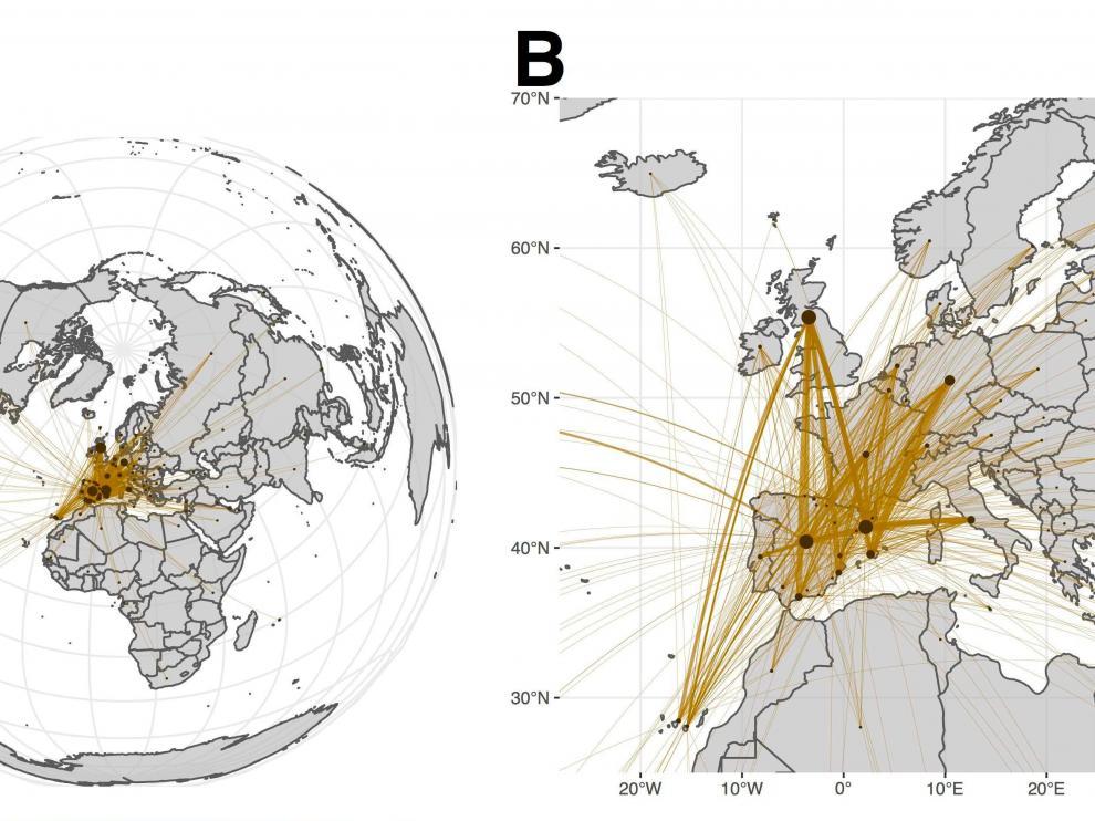 Datos de movilidad con los que se ha hecho el estudio. El panel A muestra el tráfico extracomunitario desde y hacia España, el B representa las conexiones europeas
