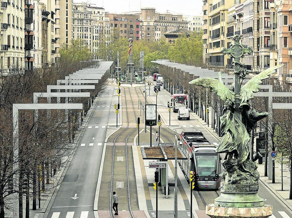 Paseo de la Independencia vacío en Zaragoza