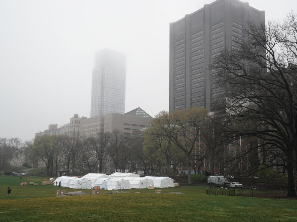 Hospital de campaña en Central Park para acoger enfermos de coronavirus.