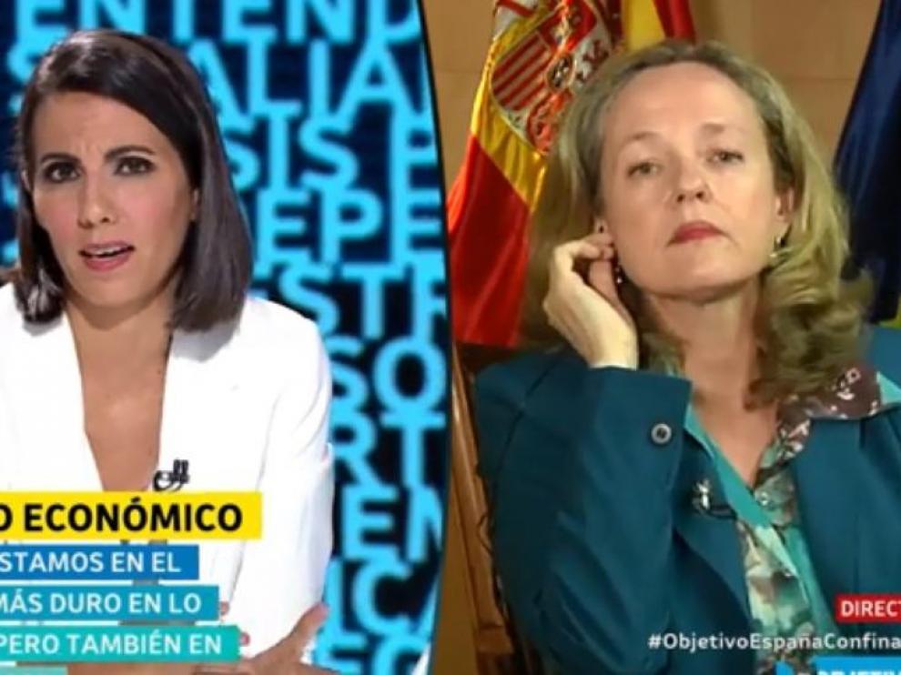 Nadia Calviño, entrevistada este domingo por Ana Pastor en El Objetivo.