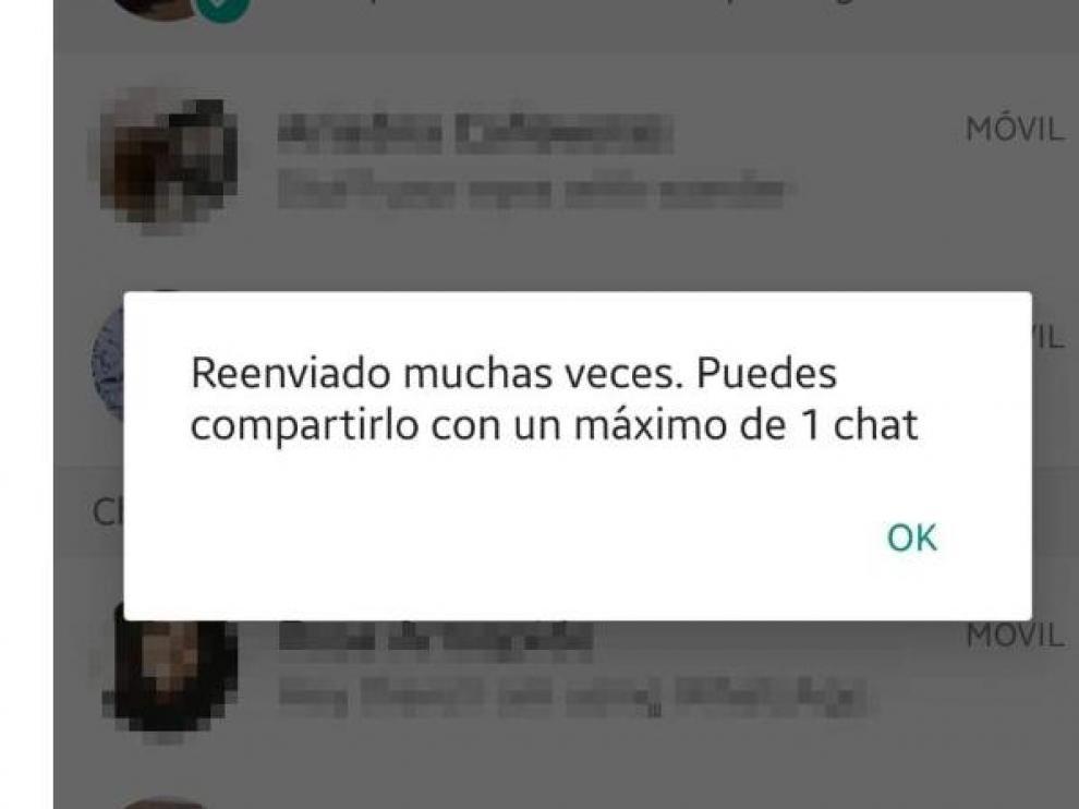 Whatsapp limita el reenvio de mensajes virales para prevenir bulos.