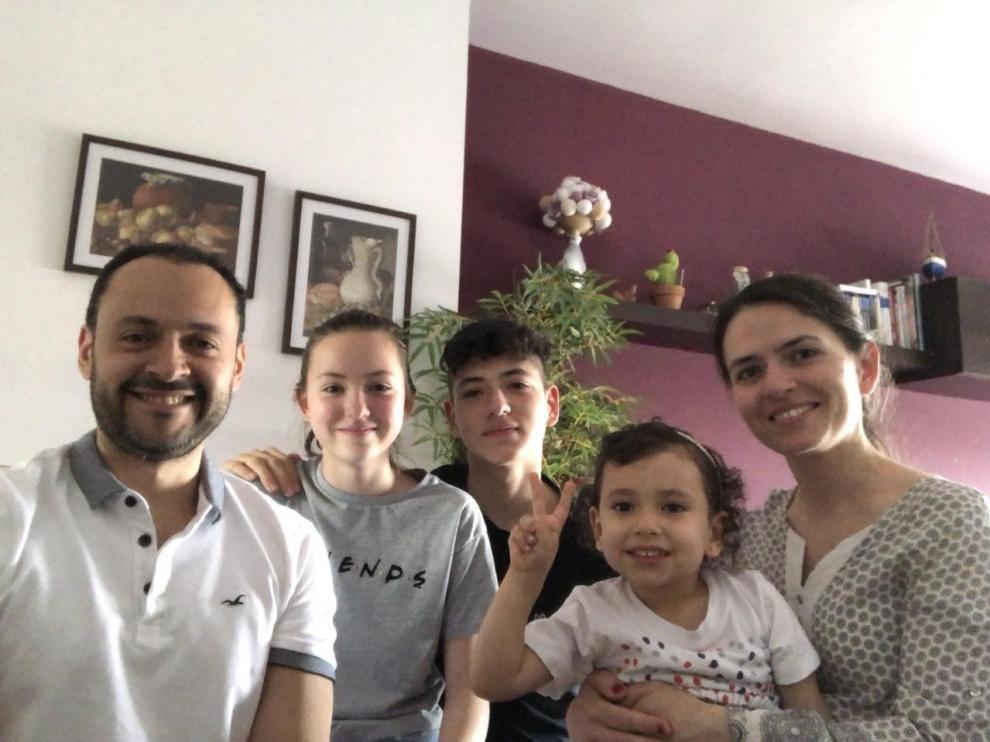 Sofía Pinzón, con sus padres y sus hermanos.