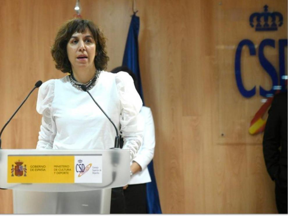 Irene Lozano, presidenta del Consejo Superior de Deportes, en una rueda de prensa en el Ministerio de Cultura y Deporte.