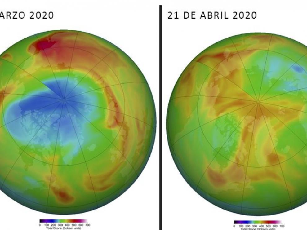 Comparatica de los niveles de ozono en el Ártico el día 29 de marzo y 21 de abril de 2020.