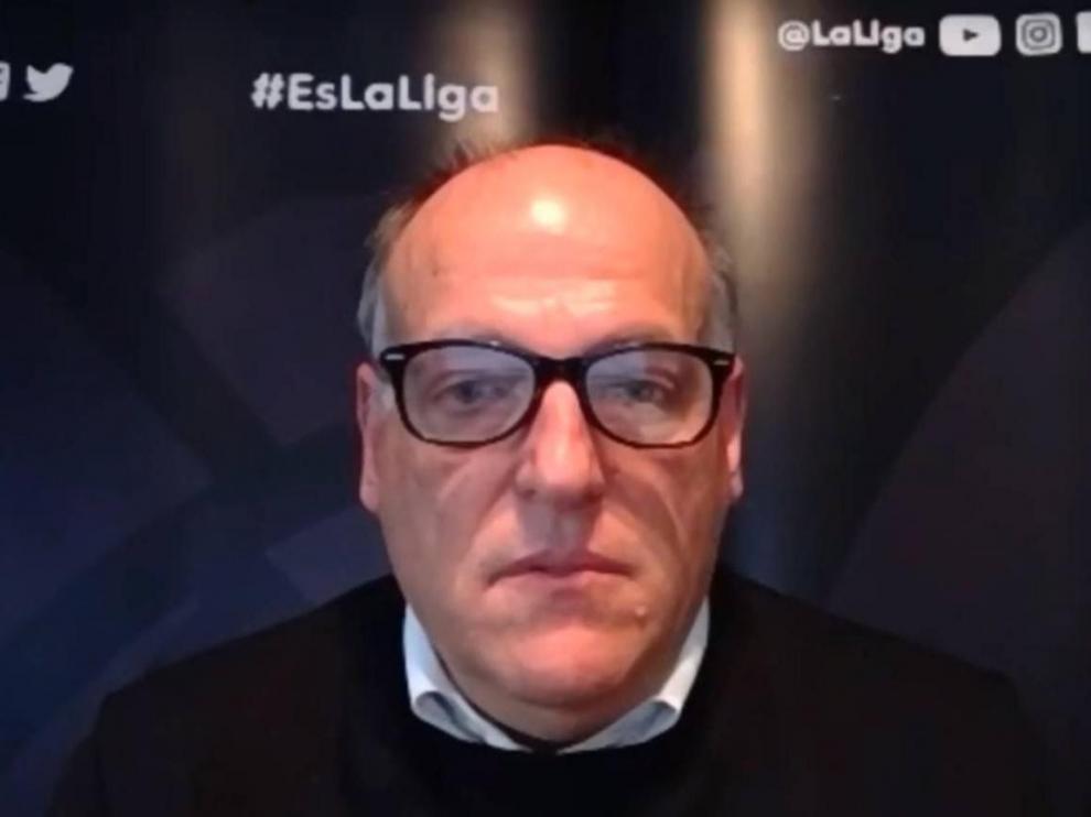 Javier Tebas, a última hora de la tarde de este viernes, durante la charla por videoconferencia que ofreció bajo la organización de ADAE (Asociación de directivos y ejecutivos de Aragón).