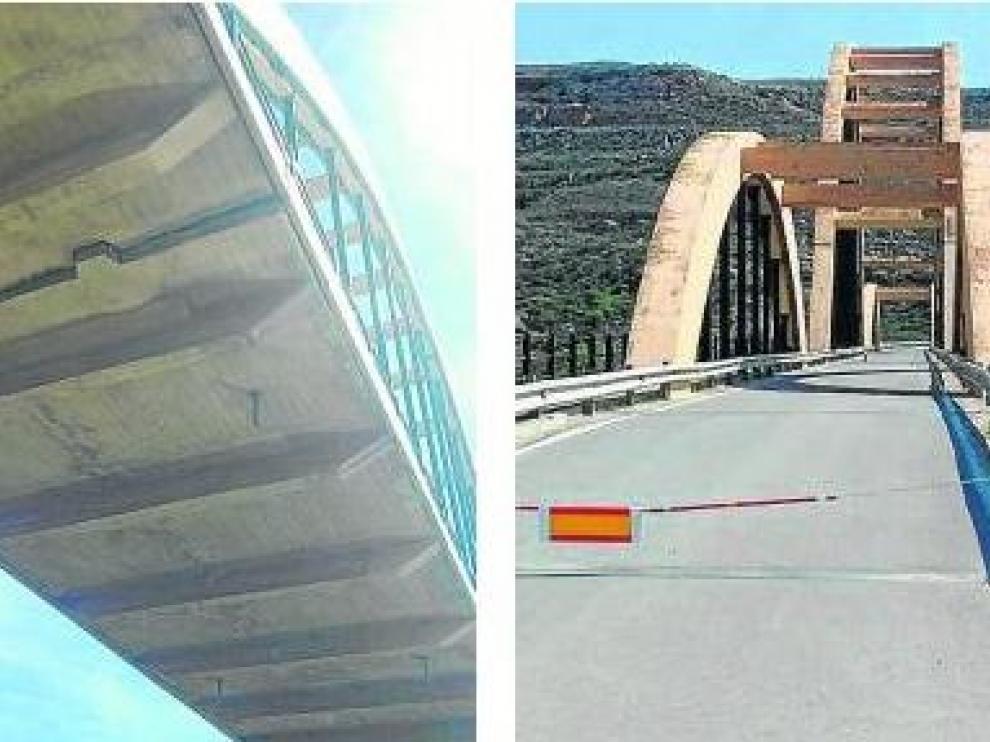 El puente de Sástago está cortado al tráfico desde principios de marzo tras hundirse el tablero unos 25 centímetros en la arcada central, como se aprecia en la fotografía de la izquierda. dga