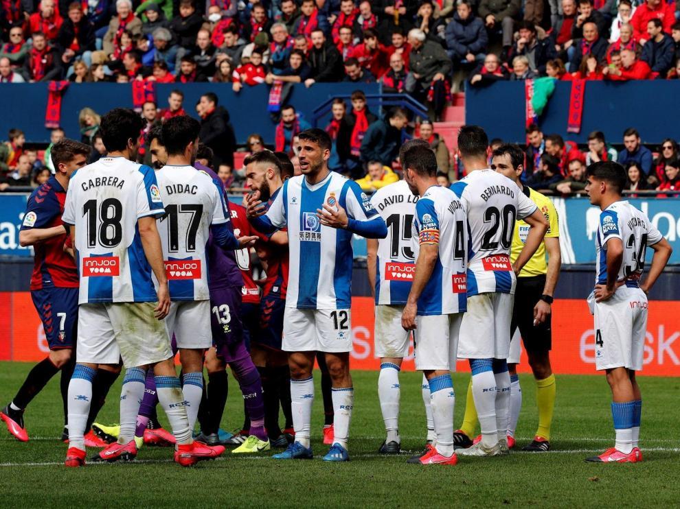 Imagen de los jugadores del Espanyol en uno de los partidos previos al parón de la liga hace ya mes y medio.