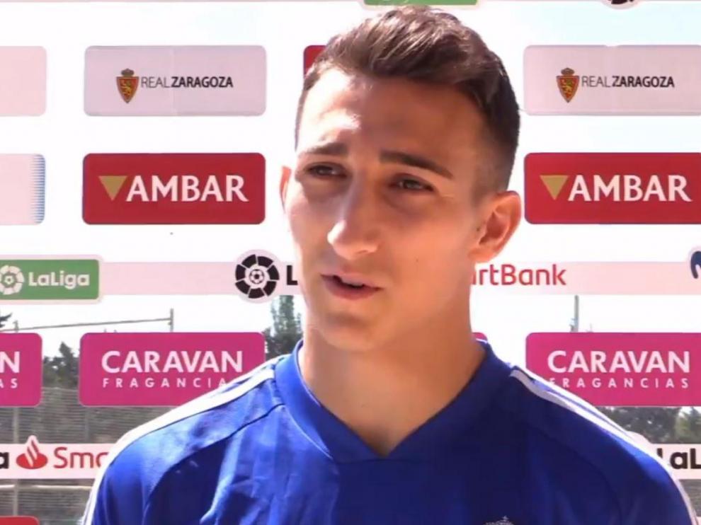 Marcos Baselga, delantero del filial que, tras firmar un nuevo contrato con el Real Zaragoza hasta 2024, ya trabaja como jugador del primer equipo.