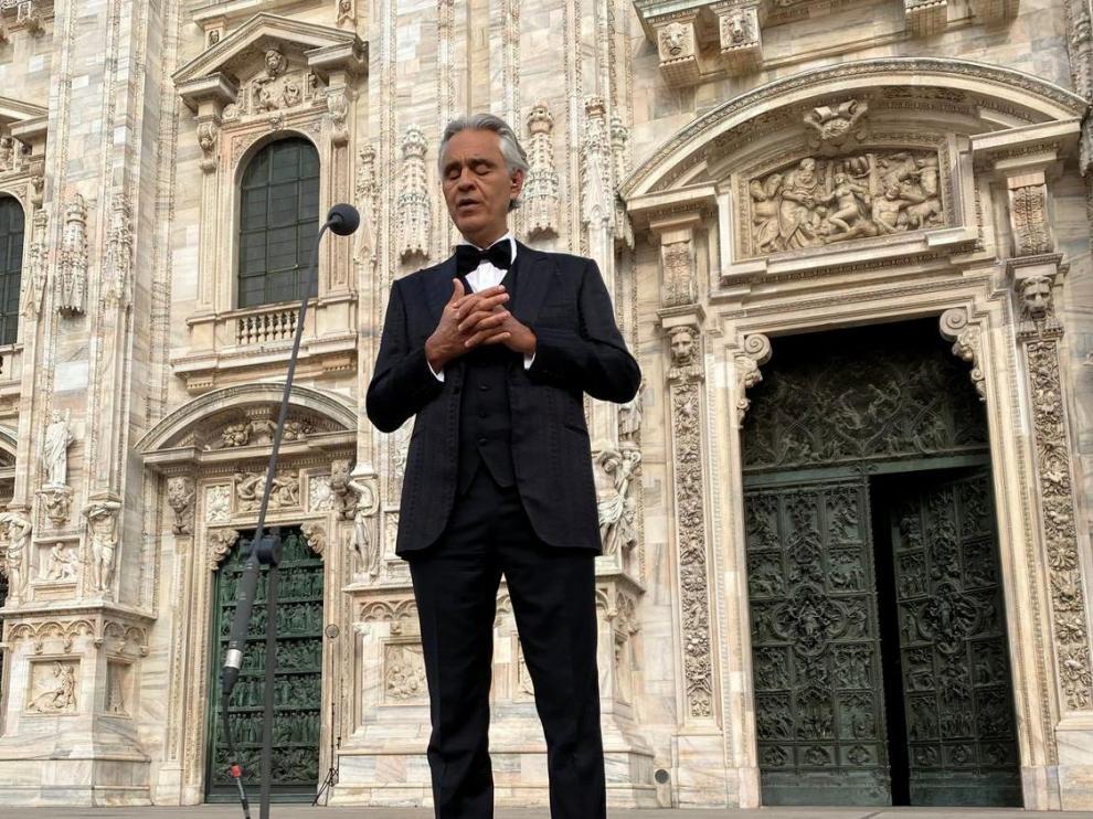 Andrea Bocelli, durante el concierto que ofreció el Domingo de Pascua pasado en la catedral de Milán.