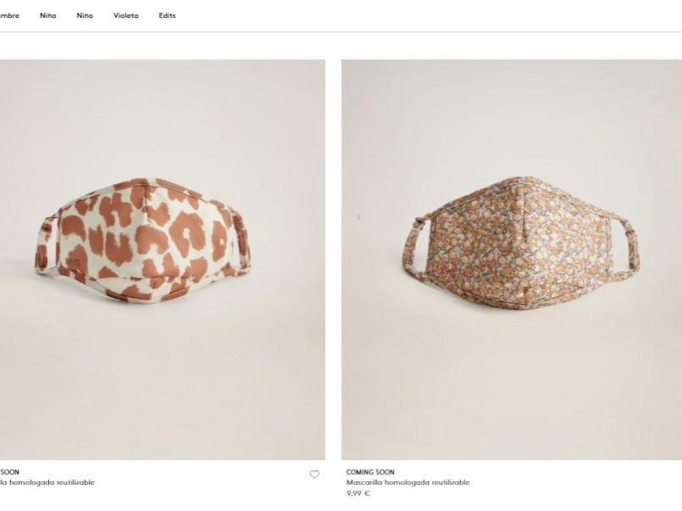 Mascarillas y geles de mujer, en la web de Mango, a partir de este jueves.