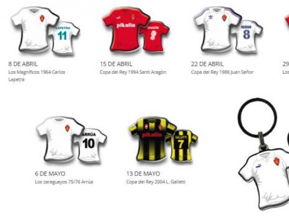 Pasión y orgullo en las camisetas de las grandes gestas del Real Zaragoza en formato llavero.
