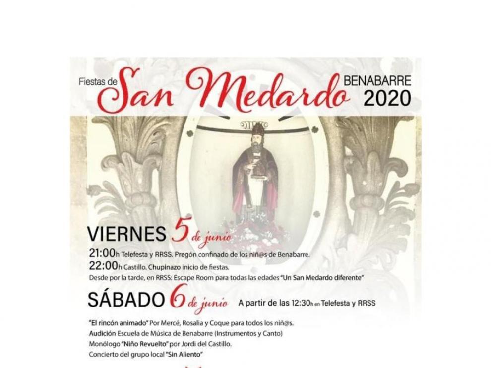 Cartel de fiestas de San Medardo en Benabarre.