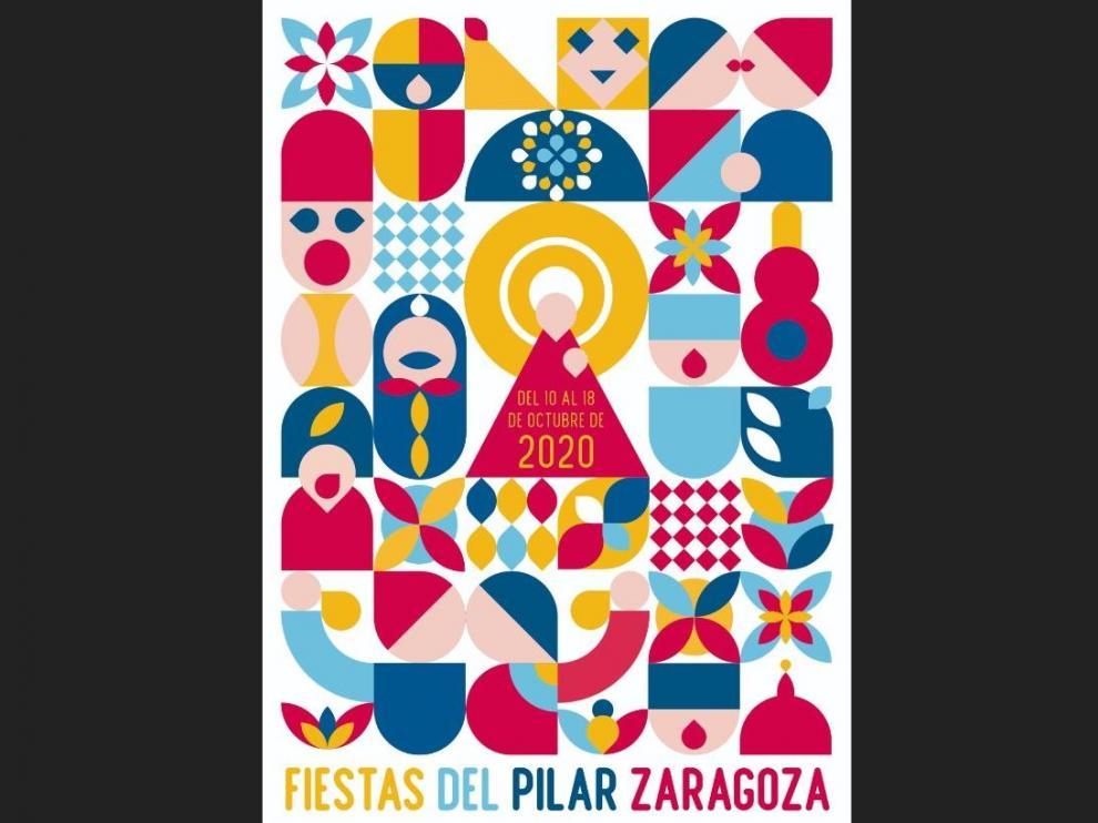'Pilares Geométricos', de Alfredo León, cartel ganador de las Fiestas del Pilar 2020