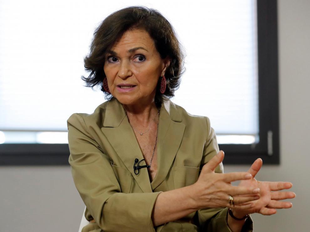 Carmen Calvo, durante la entrevista.