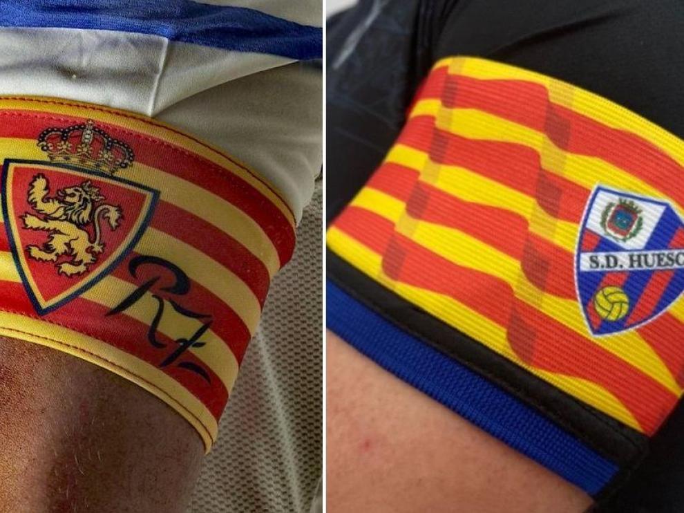 Los brazaletes de capitán del Real Zaragoza y la SD Huesca para el derbi.