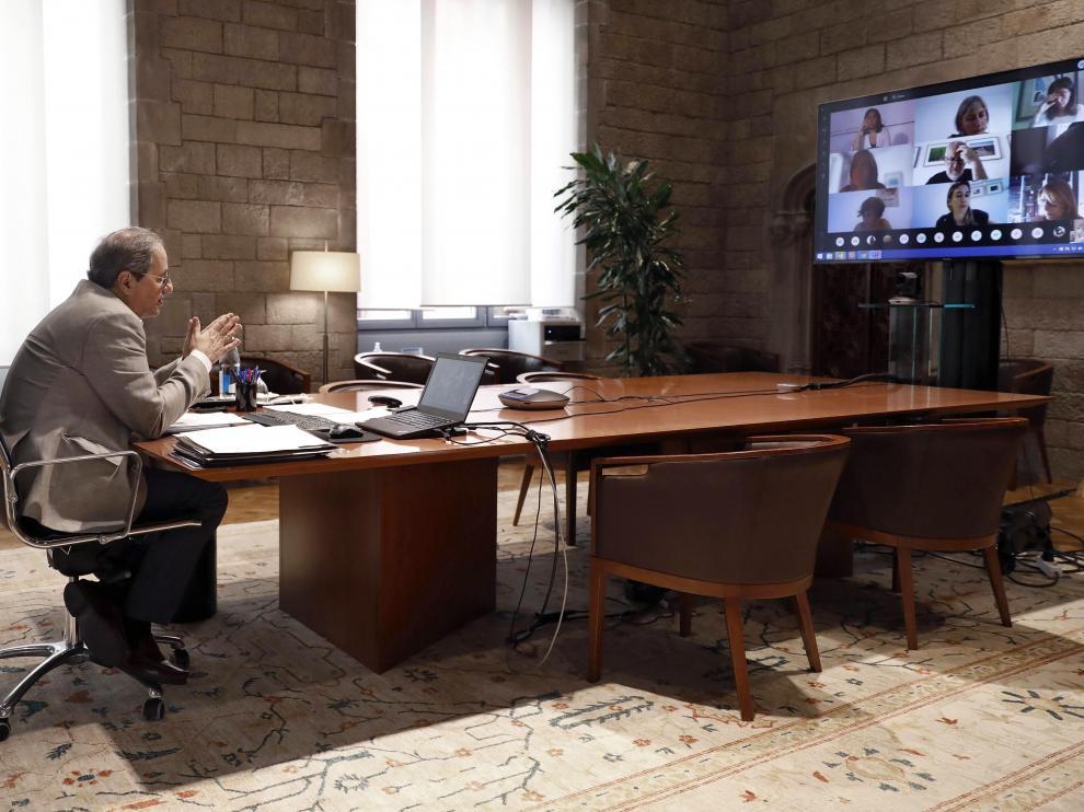 Quim Torra, presidió esta mañana una reunión telemática con los alcaldes de los municipios del área metropolitana de Barcelona afectados por las restricciones contra la Covid-19.