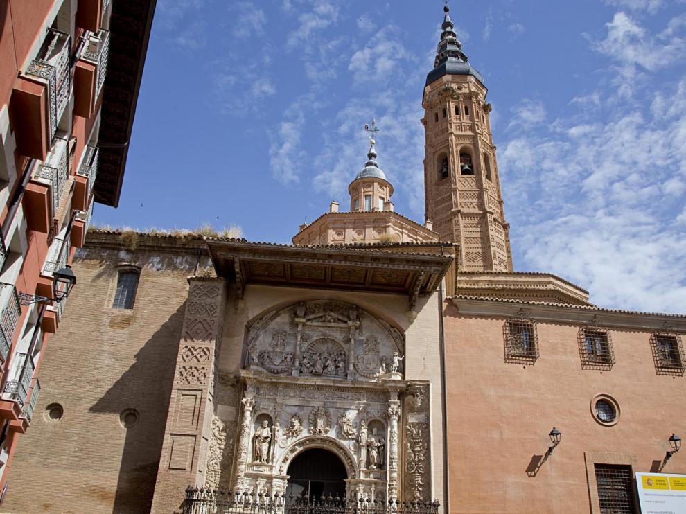 Presentación del estado de las obras de la Colegiata de Santa María, en Calatayud, este miércoles.