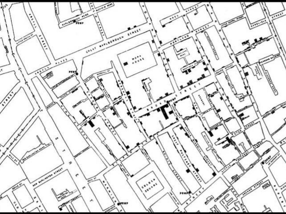 El mapa epidemiológico de Snow. Los puntos negros son los casos de cólera y la ubicación del surtidor infectado, el epicentro de la epidemia.