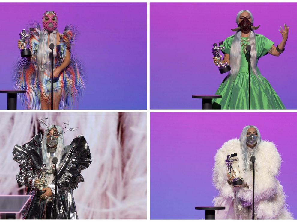 """Lady Gaga accepts the awards for Best Collaboration for """"Rain On Me"""", Artist of the Year, Song of the Year, and the Tricon Award during the 2020 MTV VMAs in this combination picture of screen grab images made available on August 30, 2020. VIACOM/Handout via REUTERS ATTENTION EDITORS - THIS IMAGE HAS BEEN SUPPLIED BY A THIRD PARTY. EDITORIAL USE ONLY. NO RESALES. NO ARCHIVES. THIS IMAGE WAS PROCESSED BY REUTERS TO ENHANCE QUALITY, UNPROCESSED VERSIONS HAVE BEEN PROVIDED SEPARATELY. TPX IMAGES OF THE DAY [[[REUTERS VOCENTO]]] AWARDS-VMA/"""
