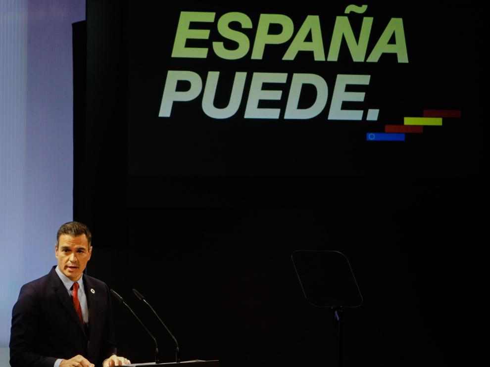 Pedro Sánchez, durante su conferencia 'España puede'.