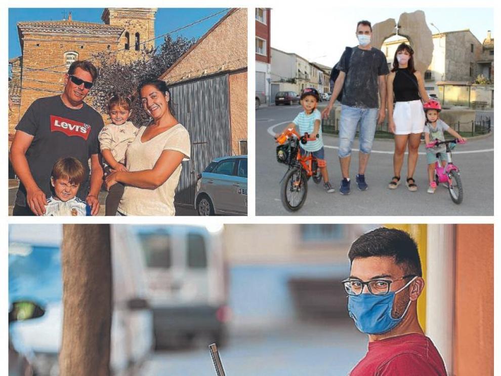 Arriba, a la izquierda, Víctor Asensio y su familia en Ferreruela (Teruel); a la derecha, Carlos y Laura, junto a sus hijos Pablo y Gabriel en Robles: Debajo, Adrián López, en una calle de Villalengua (Zaragoza)