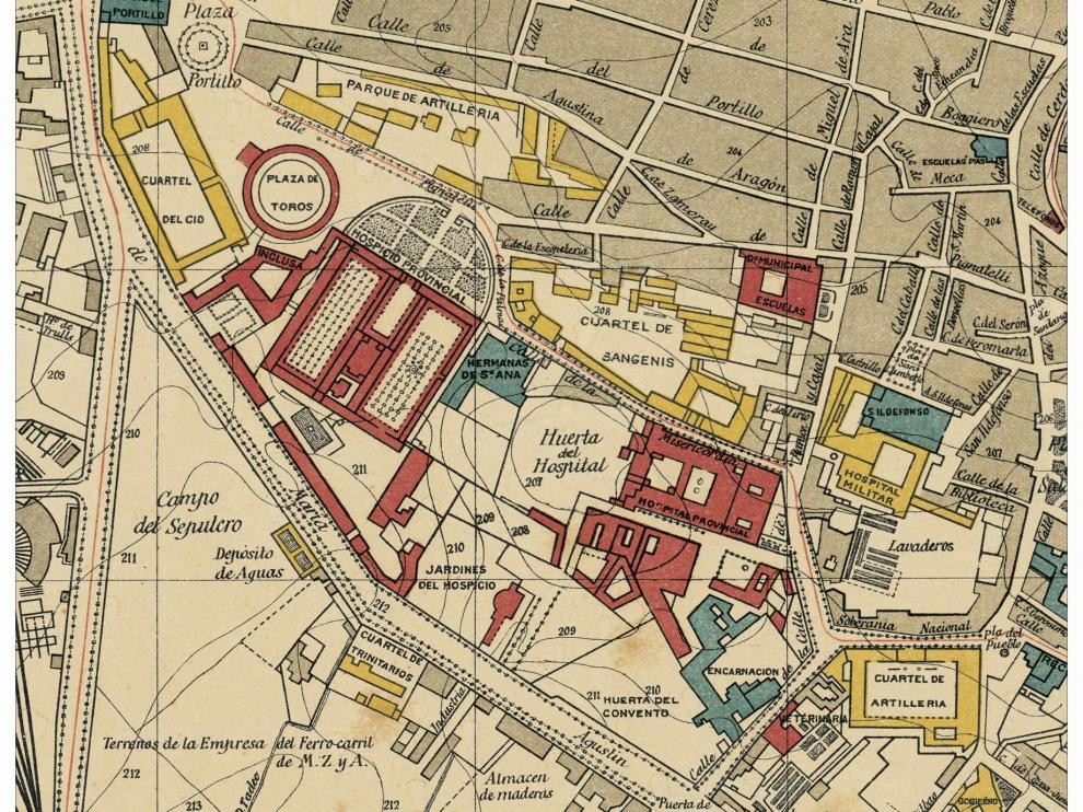 El sector Pignatelli en 1908 según Dionisio Casañal.