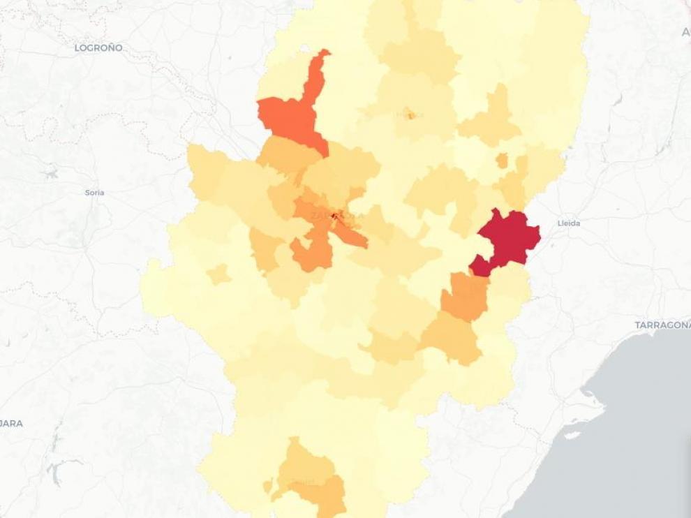Mapa de Aragón con las zonas básicas de salud con más casos de contagios por la covid-19.