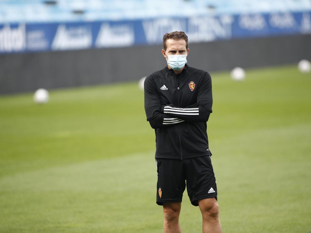 Entrenamiento del Real Zaragoza en La Romareda antes de jugar contra Las Palmas
