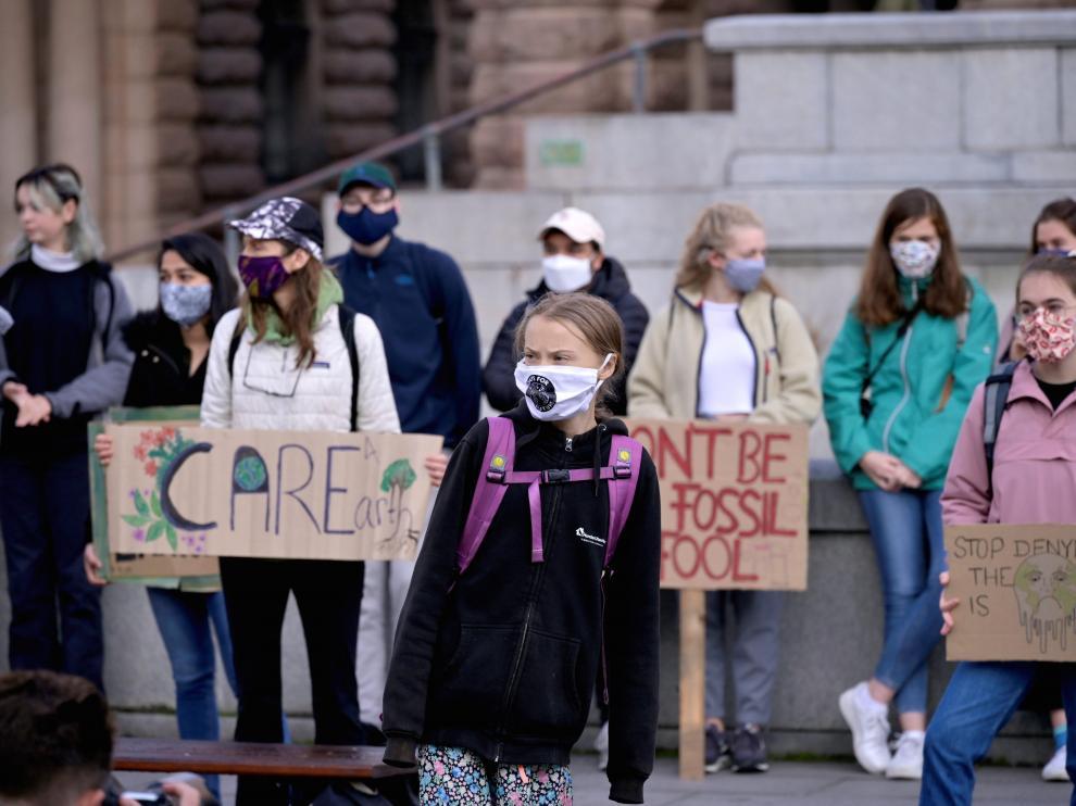 La activista por el clima Greta Thunberg, en la protesta ante el Parlamento de Estocolmo (Suecia).