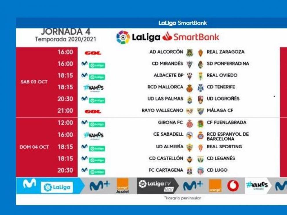 Horas y días de disputa de los 11 partidos de la 4ª jornada de Segunda División, el próximo fin de semana.
