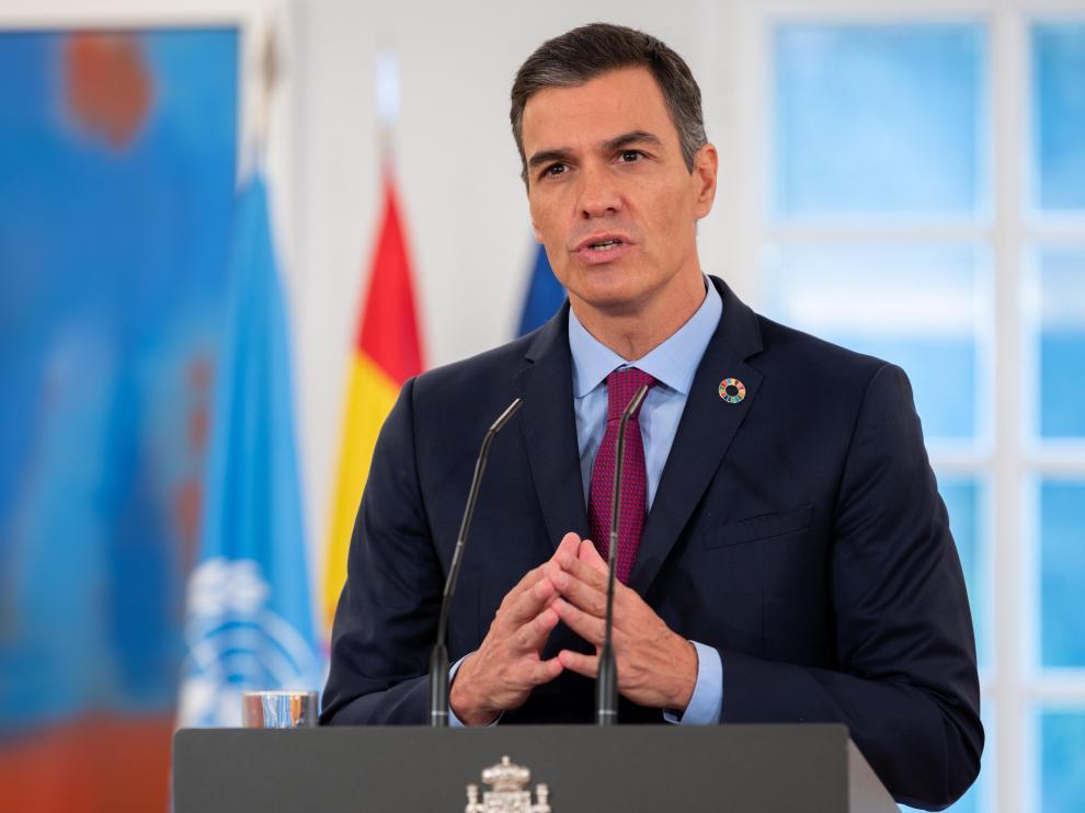 Pedro Sánchez, durante su discurso telemático ante la ONU.