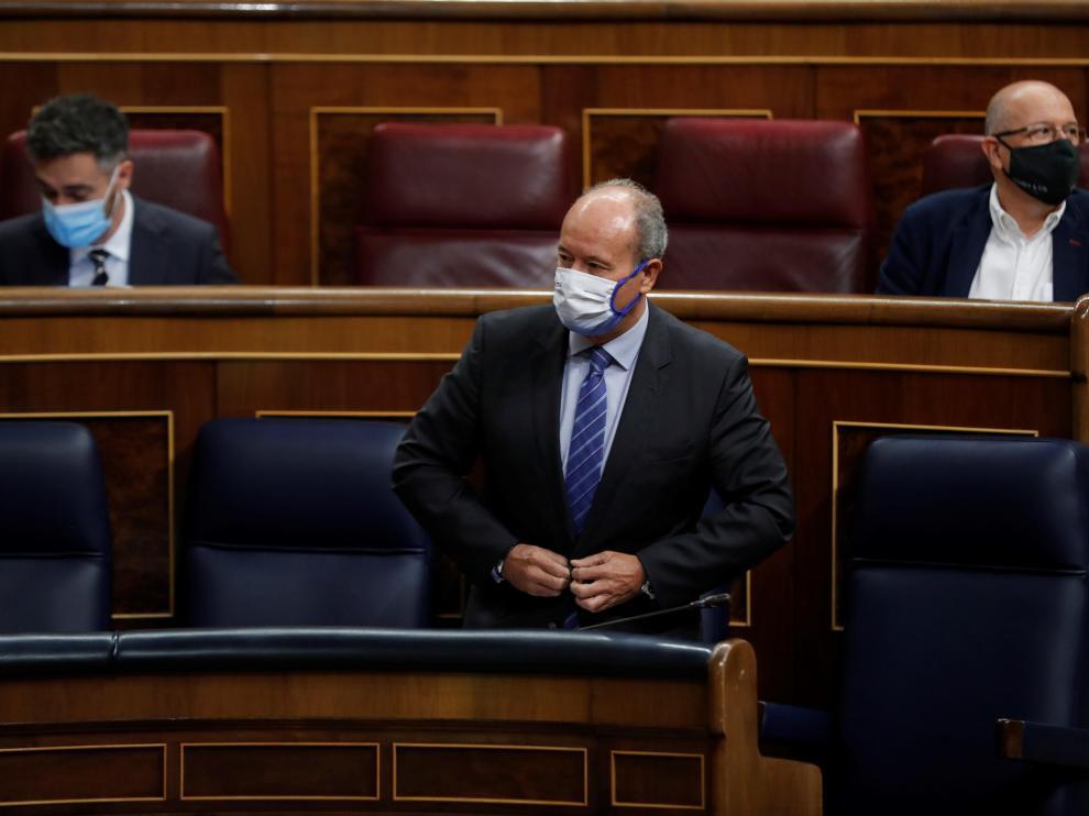 El ministro de Justicia, Juan Carlos Campo, durante la sesión de control al Ejecutivo este miércoles en el Congreso.