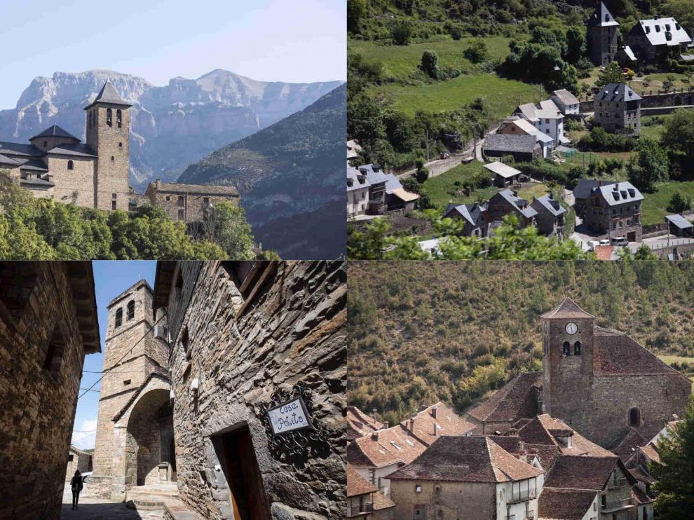 Pueblos bonitos de Huesca: Arriba Torla y Gistaín y abajo El Pueyo de Aragüás y Ansó